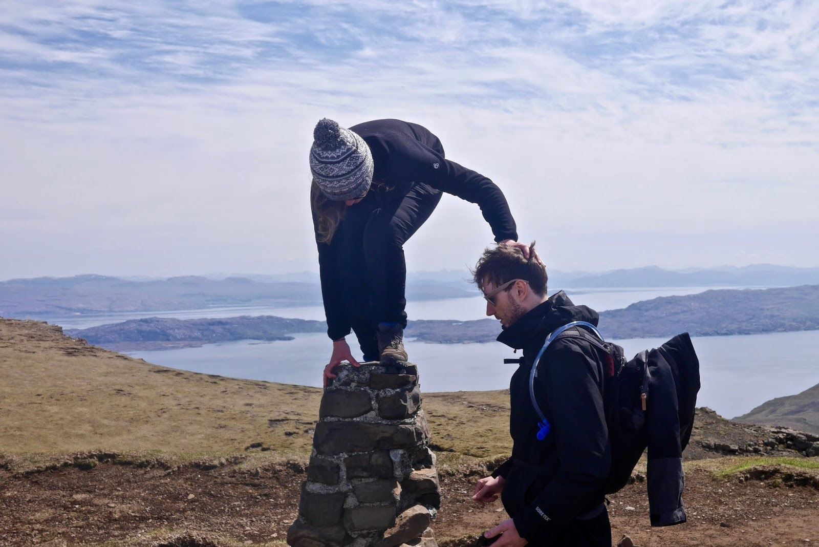 Old man of Storr, isle of Skye, Almost Chic and Cal McTravels during their Scottish Island Hopping in the outer Hebrides