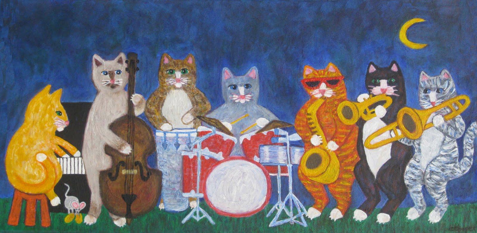 Кот музыкант открытка, май