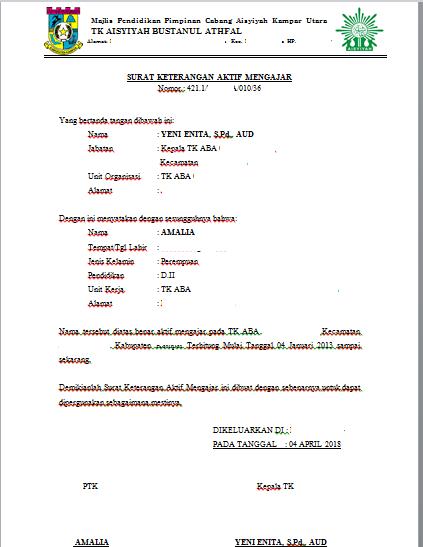 Contoh Format Surat Keterangan Aktif Mengajar Tkkb Secercah Ilmu