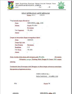 Geveducation:  Contoh Format Surat Keterangan Aktif Mengajar TK/KB 2019 2020