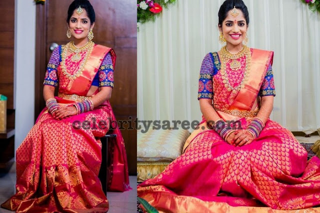 Bride in Kanchipattu Saree