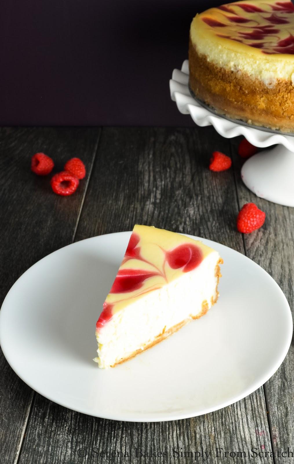 Tall And Creamy Cheesecake With Raspberry Swirl