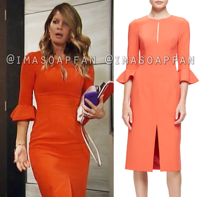 Nina Reeves, Michelle Stafford, Orange Keyhole Dress with Bell Sleeves, General Hospital, GH