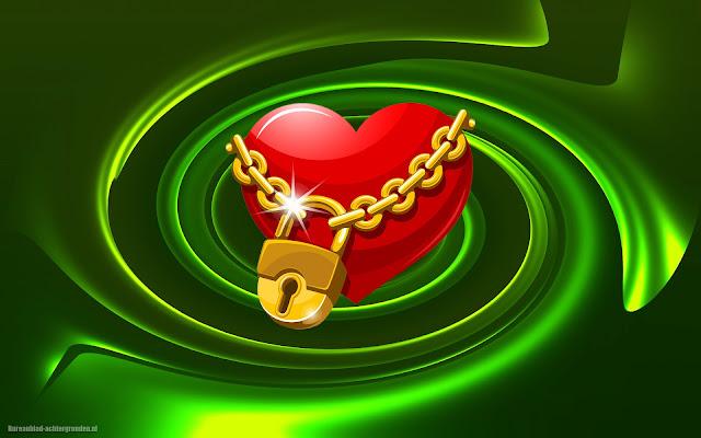 Rood liefdes hartje met ketting en slot in 3D