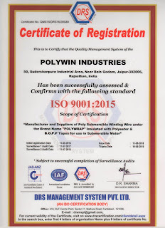 Polywin gets ISO 9001:2015 Certificate
