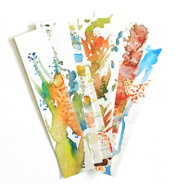 abstract watercolor bookmarks
