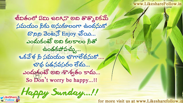 Happy sunday telugu Quotes wishes for friends