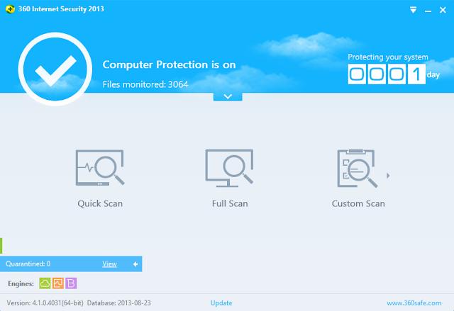 برنامج مجانى للحماية من الفيروسات وحماية أمن الانترنت لويندوز وأندرويد وأيفون وايباد وايبود تاتش 360 Internet Security 2013 4.1.0.403