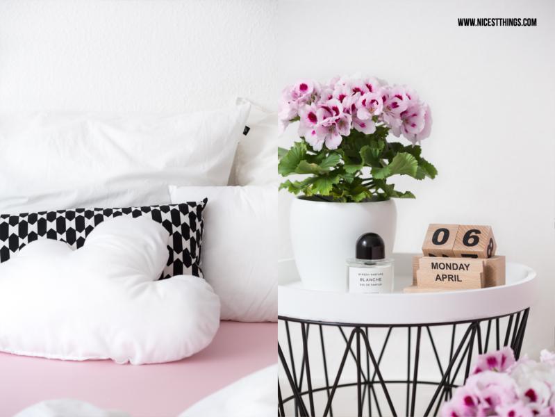 DIY Wolkenkissen nähen, Schlafzimmer in Schwarz, Weiß und Rosa