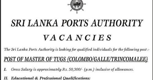 Vacancies at Sri Lanka Ports Authority