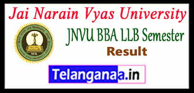 JNVU Jai Narain Vyas University BBA LLB 2nd 4th 6th 8th 10th semester Result
