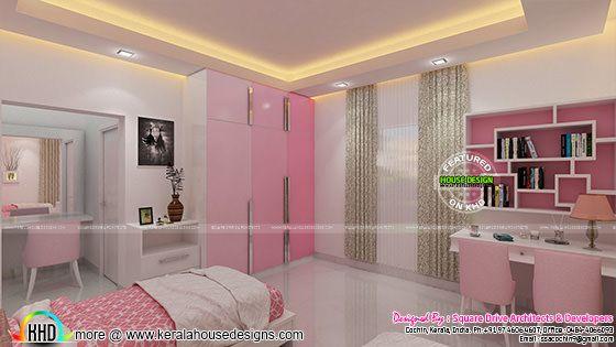 Pink kid bedroom interior