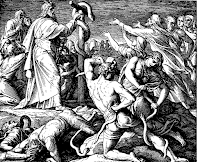 People of Israel is attacked by snakes and asked Moses to pray to the Lord. Num. 21: 5-9.