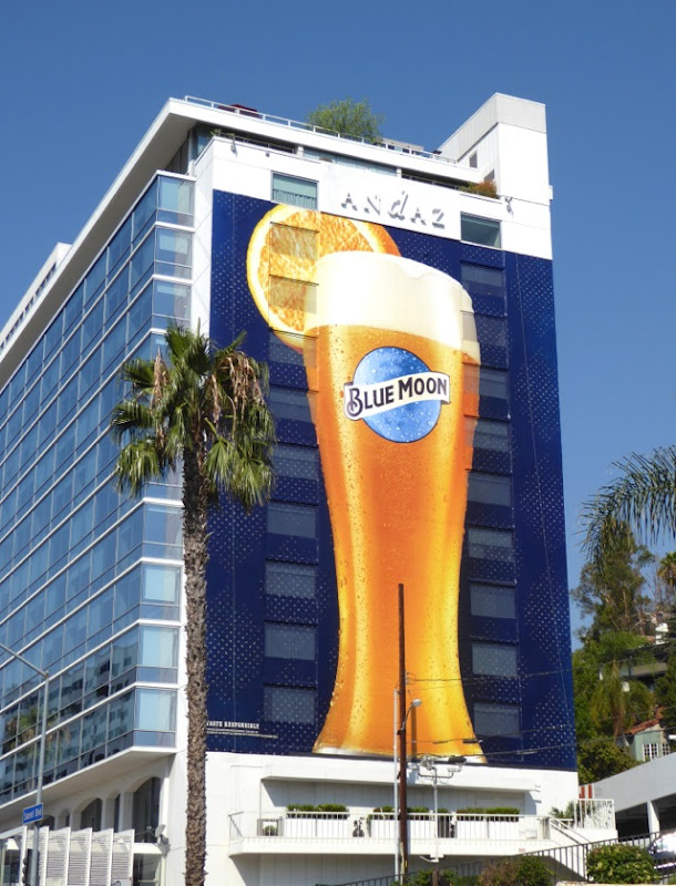 Giant Blue Moon beer billboard Andaz Hotel Aug16