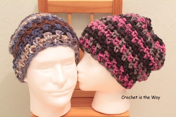 beanie, Black Friday, Bulky yarn, Charisma, crochet, Cyber Monday, discount, easy, for sale, hat, Loops & Threads, pattern, size chart, slouchy, unisex