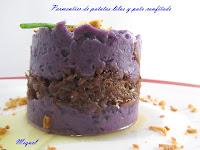 Parmentier de patatas lilas y pato confitado
