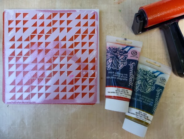 How to use a Stencil with a Gelli Arts Gelli Plate and Speedball Block Printing Ink