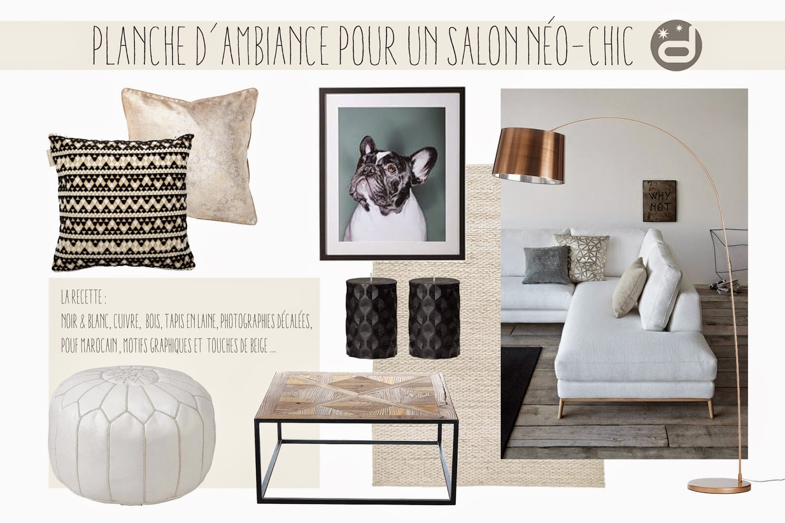 divin 39 id le blog d co planche d 39 ambiance pour un salon n o chic neo chic living room mood board. Black Bedroom Furniture Sets. Home Design Ideas