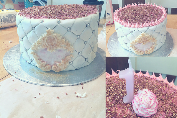 icing and sprinkling the top of the birthday cake with pink