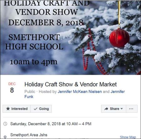12-8 Craft & Vendor Show, Smethport HS