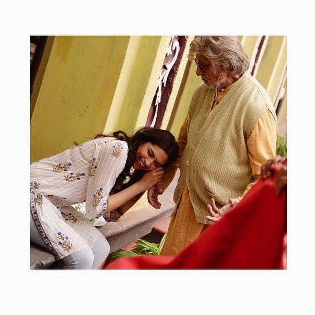 whos excited for her upcoming movie, piku? deepika padukone , love , perfect , outstanding , indian ,cinema indian , amitabh bachchan , best , bollywood , up coming movie , pi ku ,, Deepika Padukone Piku Movie On Location Pics with Amitabh Bachchan