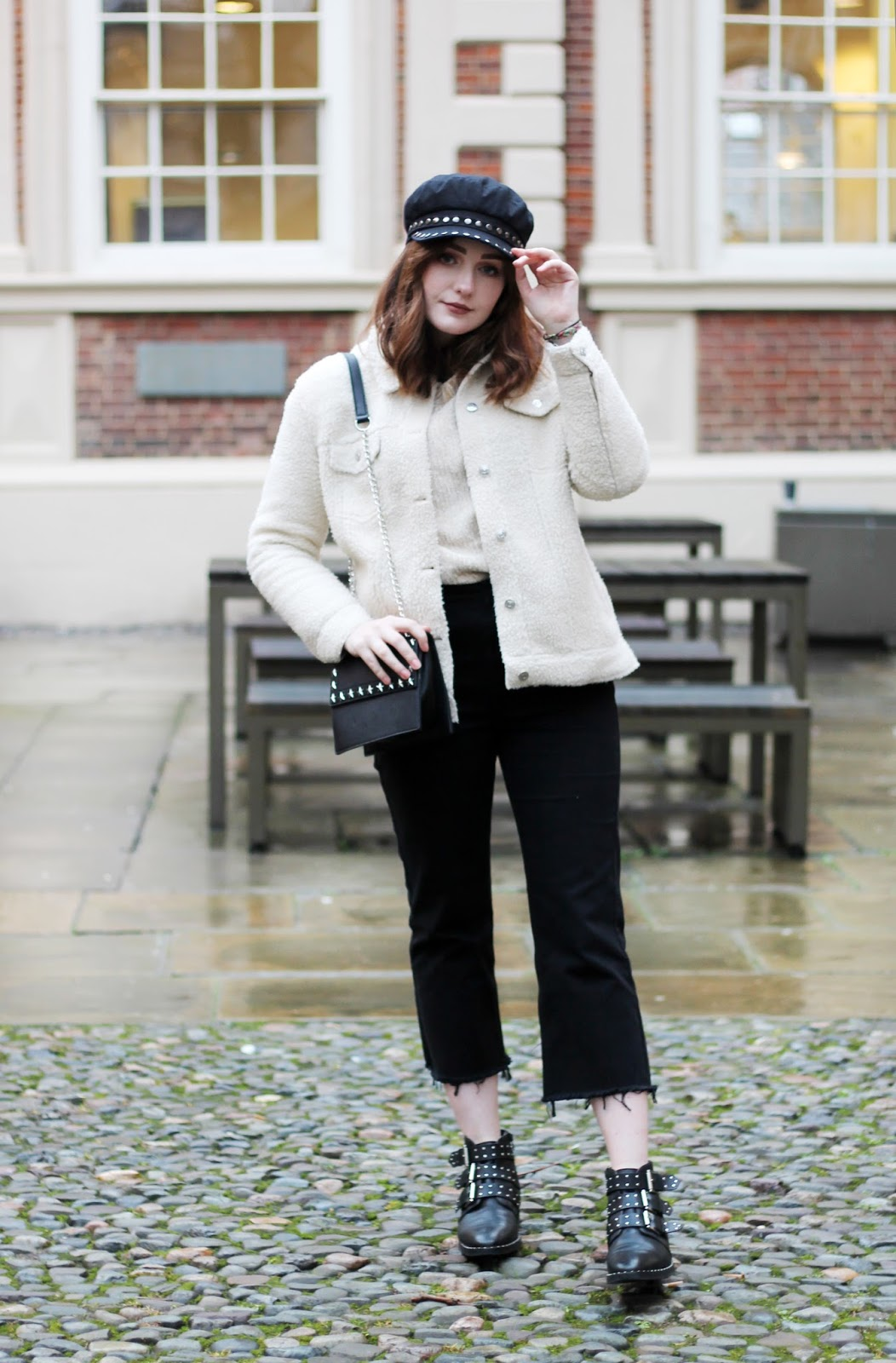 cream and black outfit inspired by 70s fashion on Liverpool based blogger allie davies