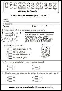 Simulado avaliação português 1º ano
