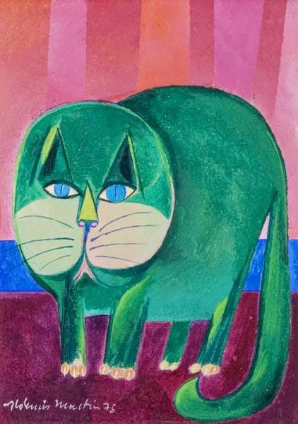 Gato Verde - Aldemir Martins e suas pinturas ~ O pintor de gatos
