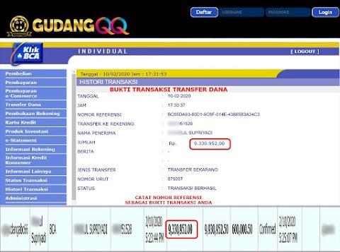 Selamat Kepada Member Setia GudangQQ WD sebesar Rp. 9,330,952.-