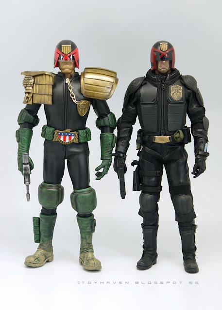 osw.zone Comparison images of ThreeA 2000AD Judge Dredd figure with art figures Karl Urban Dredd