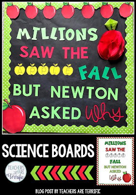 Science and STEM Bulletin Boards! Templates for four boards with great ideas for elementary science or STEM displays and projects for classroom teachers. Images are included to customize your boards by printing letters and designing your own displays. Easy and fun ideas to add a science bulletin board to your classroom! Templates include letters and decorative images and ideas for using the set!