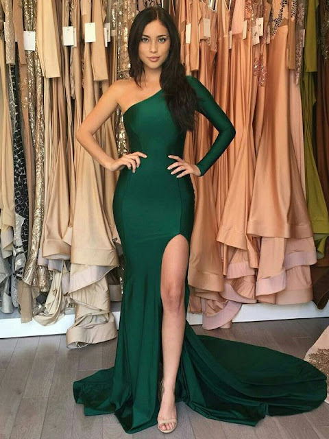 Trumpet/Mermaid One Shoulder Silk-like Satin Sweep Train Split Front Prom Dresses
