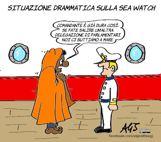 migranti, seawatch, delegazioni parlamentari, ong, satira, vignetta