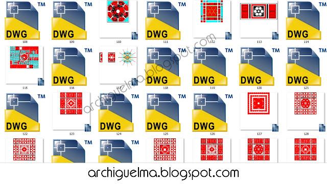 مجموعة من الزخارف الاسلاميه بصيغة DWG 2D