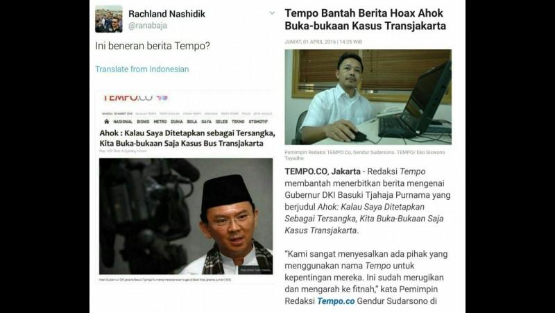 Rachland Nashidik menyebarkan berita hoax Tempo