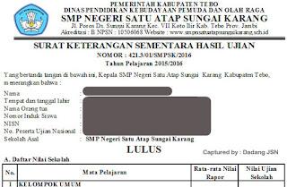 Contoh Surat Keterangan Hasil Ujian Nasional Skhun Sementara Tahun