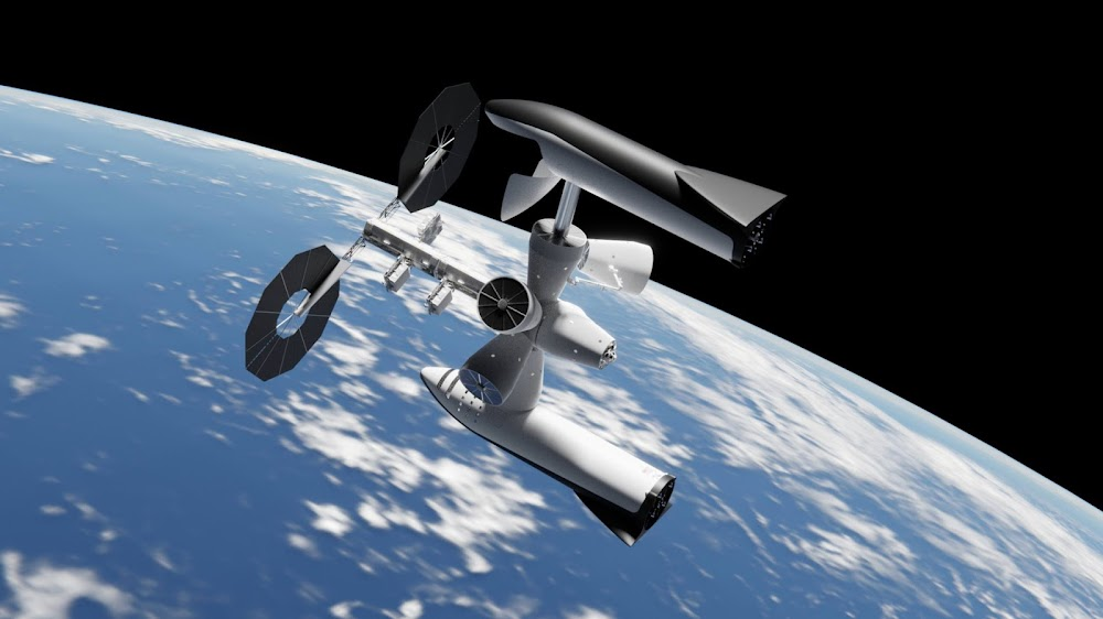 Building orbital space station with the help of SpaceX Big Falcon Rocket