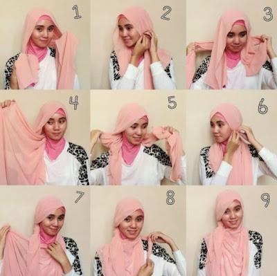 tutorial model hijab wisuda segi empat dua warna terbaru