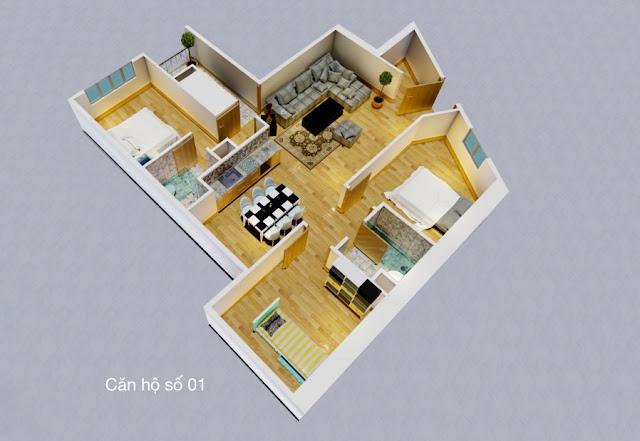 Thiết kế căn hộ số 01 chung cư tháp doanh nhân