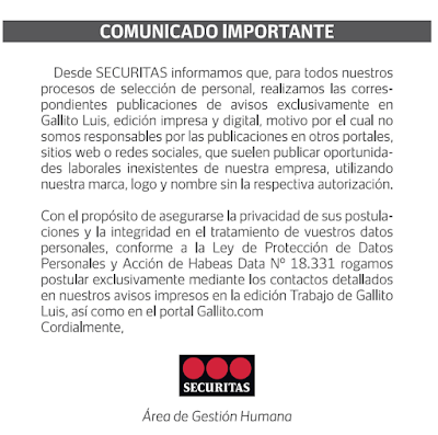 Comunicado importante de SECURITAS