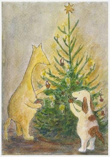 Postcard illustration of Hulmu Hukka and Haukku Spaniel decorating a Christmas tree