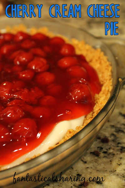 Cherry Cream Cheese Pie | This lovely pie is reminiscent of no-bake cheesecake and is too good for words! #recipe #SundaySupper #cherry #pie #dessert