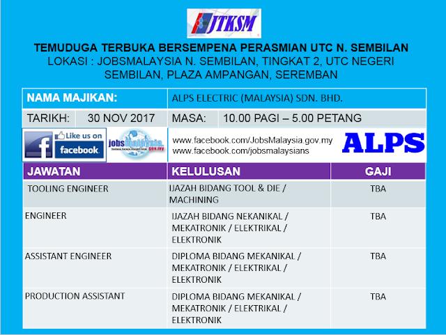 Temuduga Terbuka Sempena Perasmian UTC Negeri Sembilan 30 November 2017