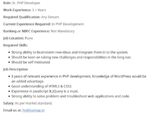 Senior PHP Developer in Loantop
