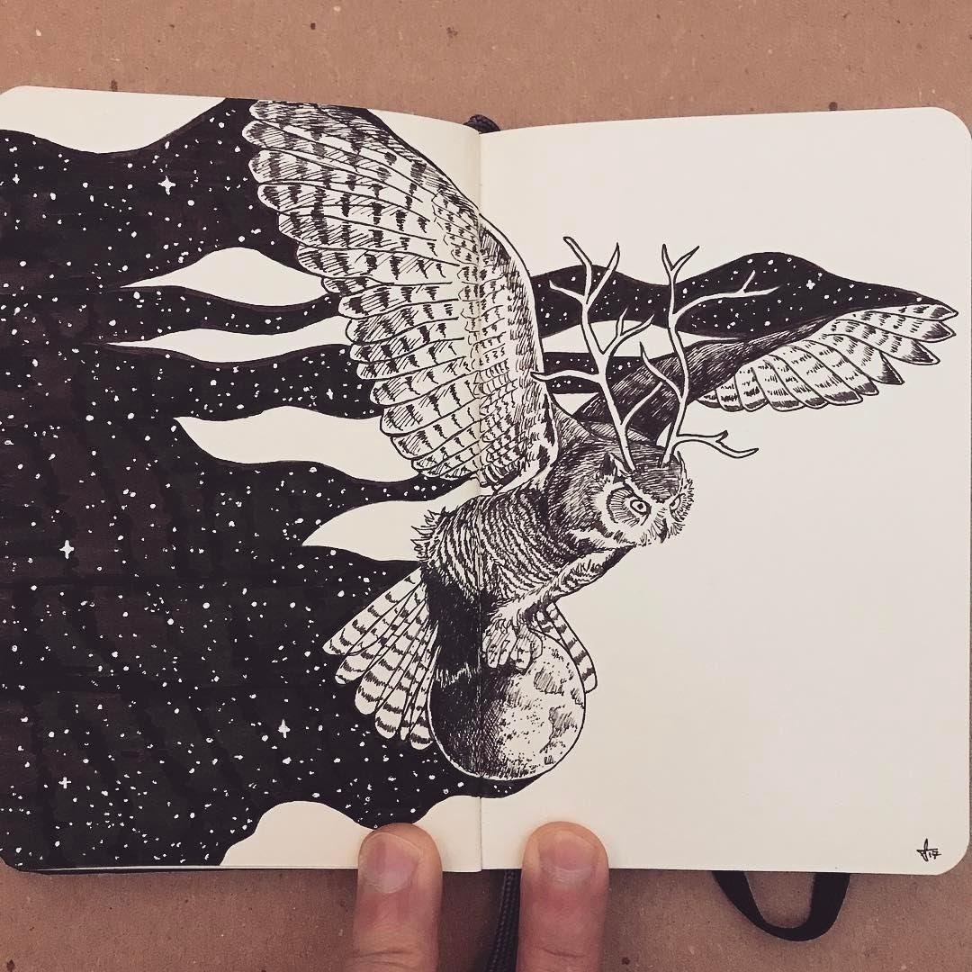 03-Shepherd-of-the-Moon-Francisco-Del-Carpio-Moleskine-Black-and-White-Ink-Drawings-www-designstack-co
