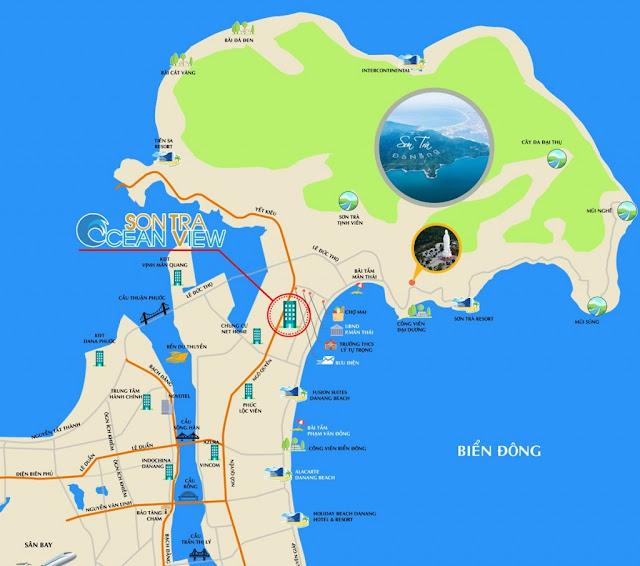 Vị trí chính xác trên bảng đồ của căn hộ Sơn Trà Ocean View Đà Nẵng
