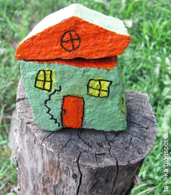 домики из камней - детская поделка