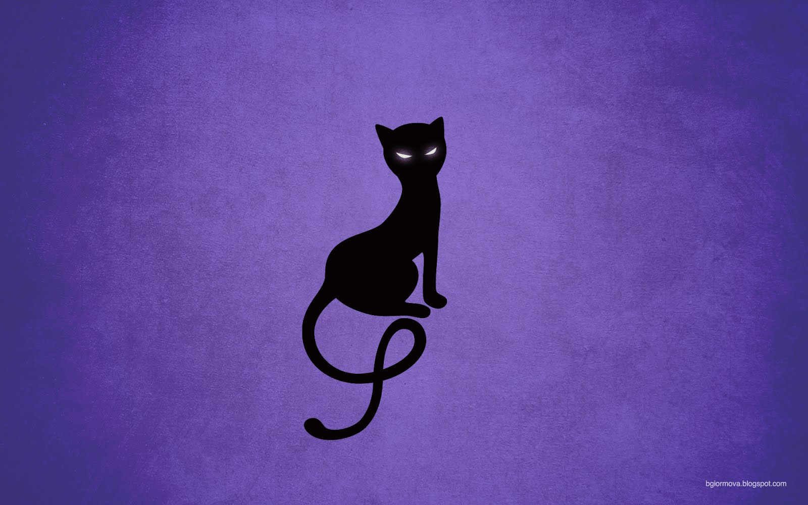 Gracious evil black cat desktop wallpaper in purple