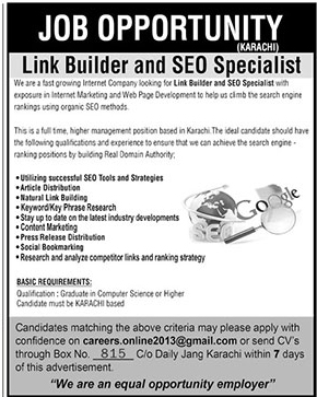 Link Builder and SEO Specialist Announced Jobs in Karachi