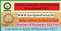 National Institute of Technology Recruitment 2017– 122 Technical Staff